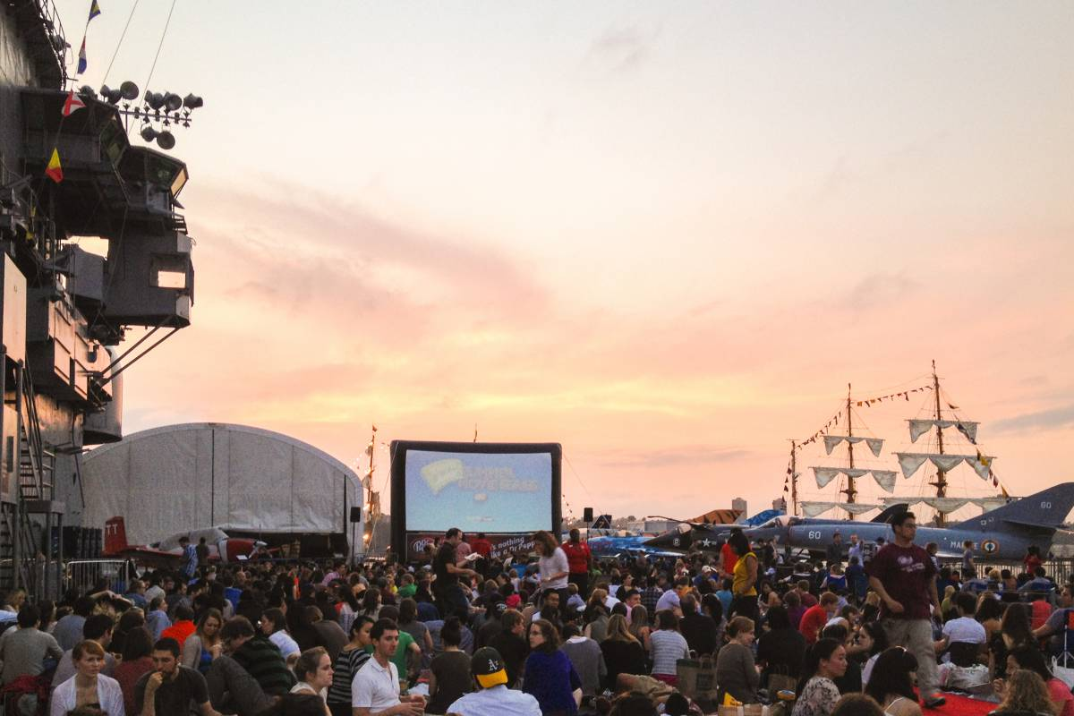 Image result for nyc Free movies on a ship deck