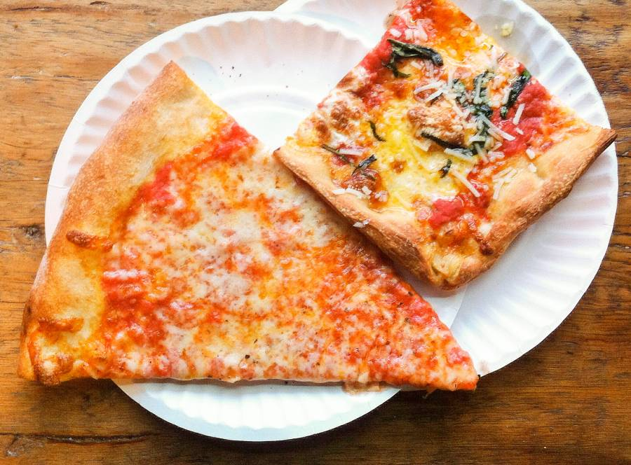 Plain and Sicilian slices from Williamsburg Pizza in Brooklyn