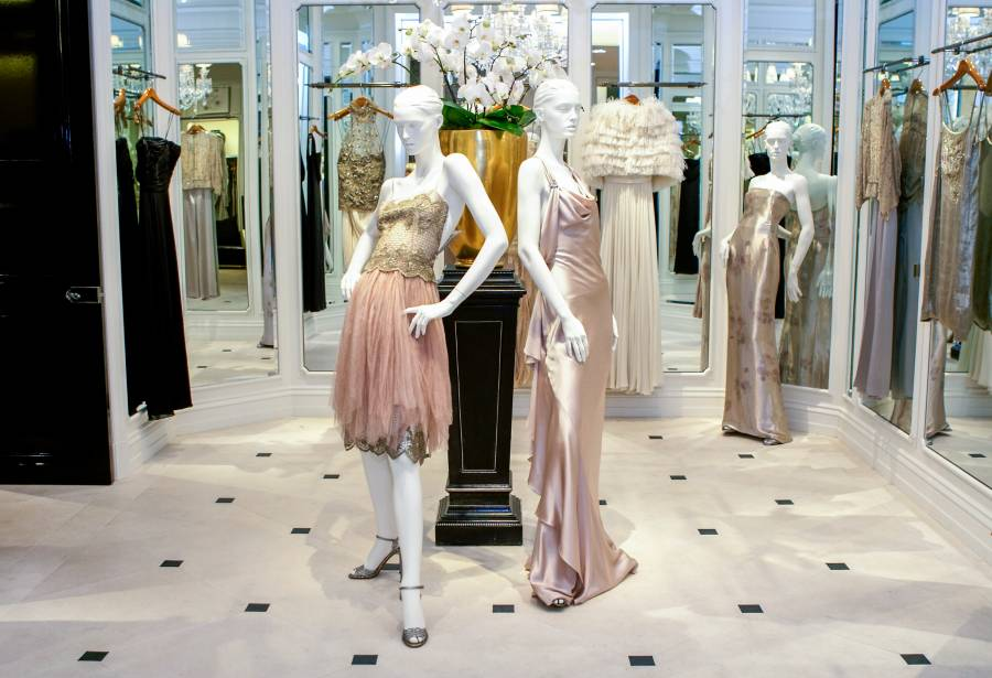 Dresses inside of Saks Fifth Avenue in Manhattan