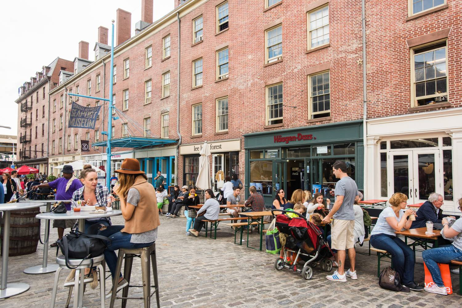 Shopping and outdoor dining at South Street Seaport