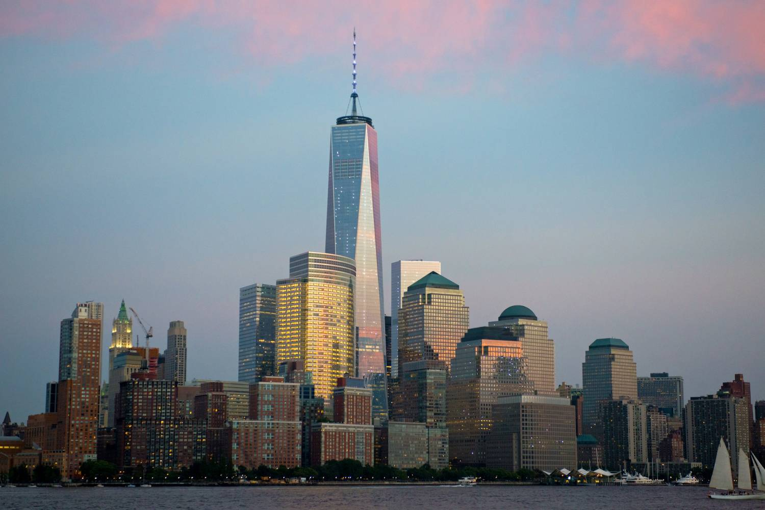 View of the New York City skyline at dusk.