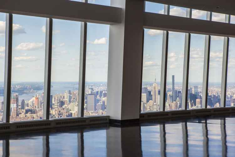 One World Trade Center, interior view looking out