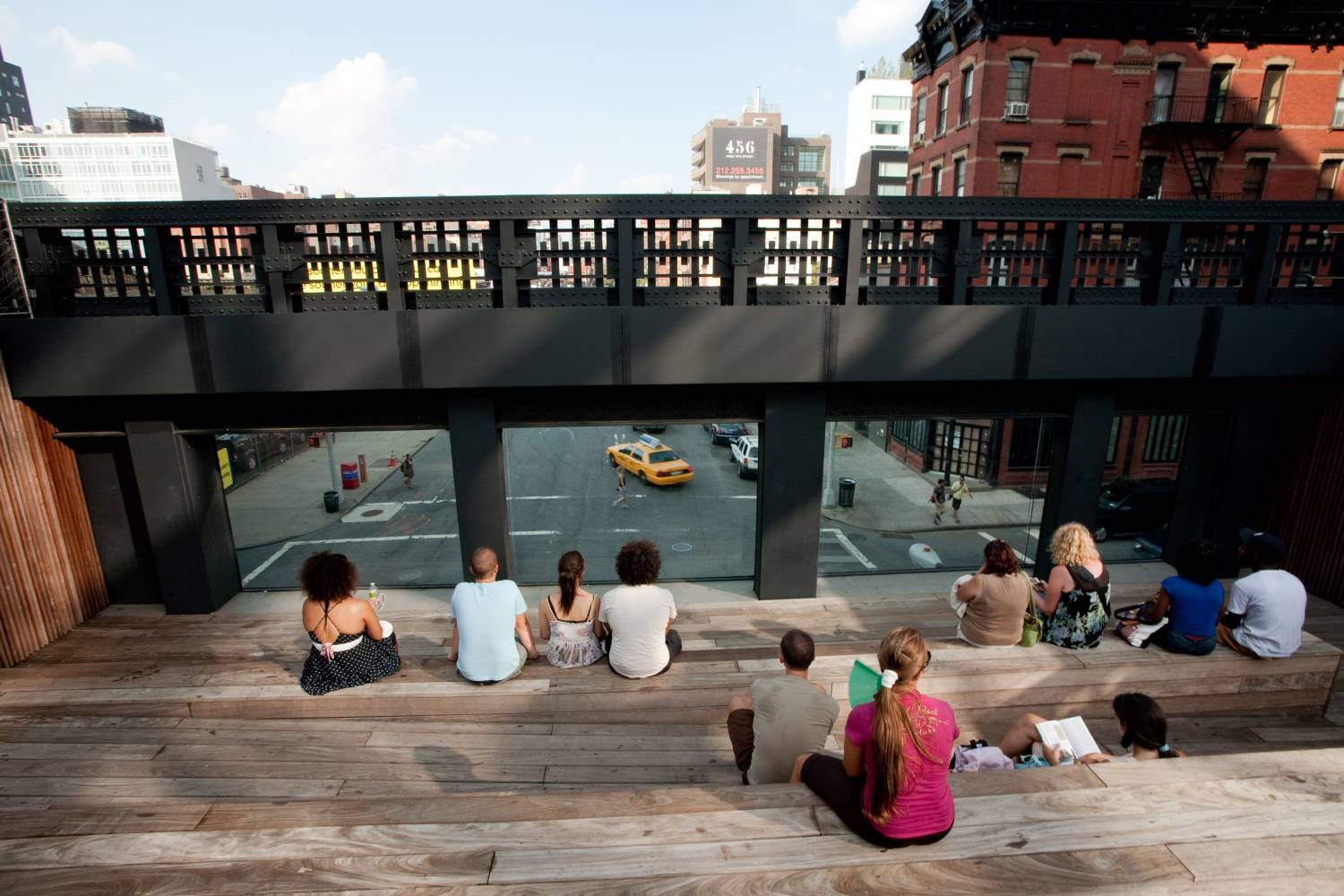 People sitting on the High Line