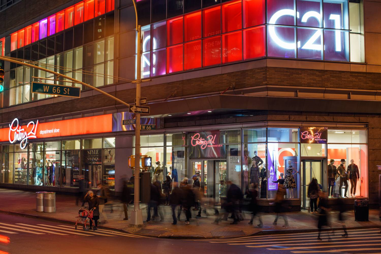 Exterior of Century 21 Upper West Side near Lincoln Center at night