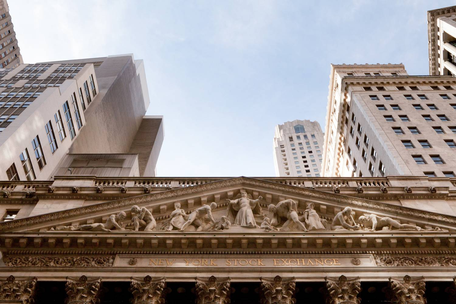 Detail of the New York Stock Exchange exterior