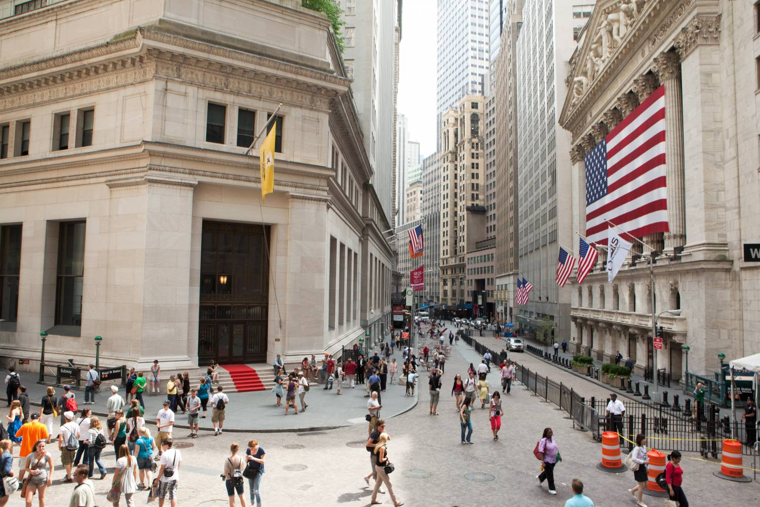 Street view of Wall Street photographed from above