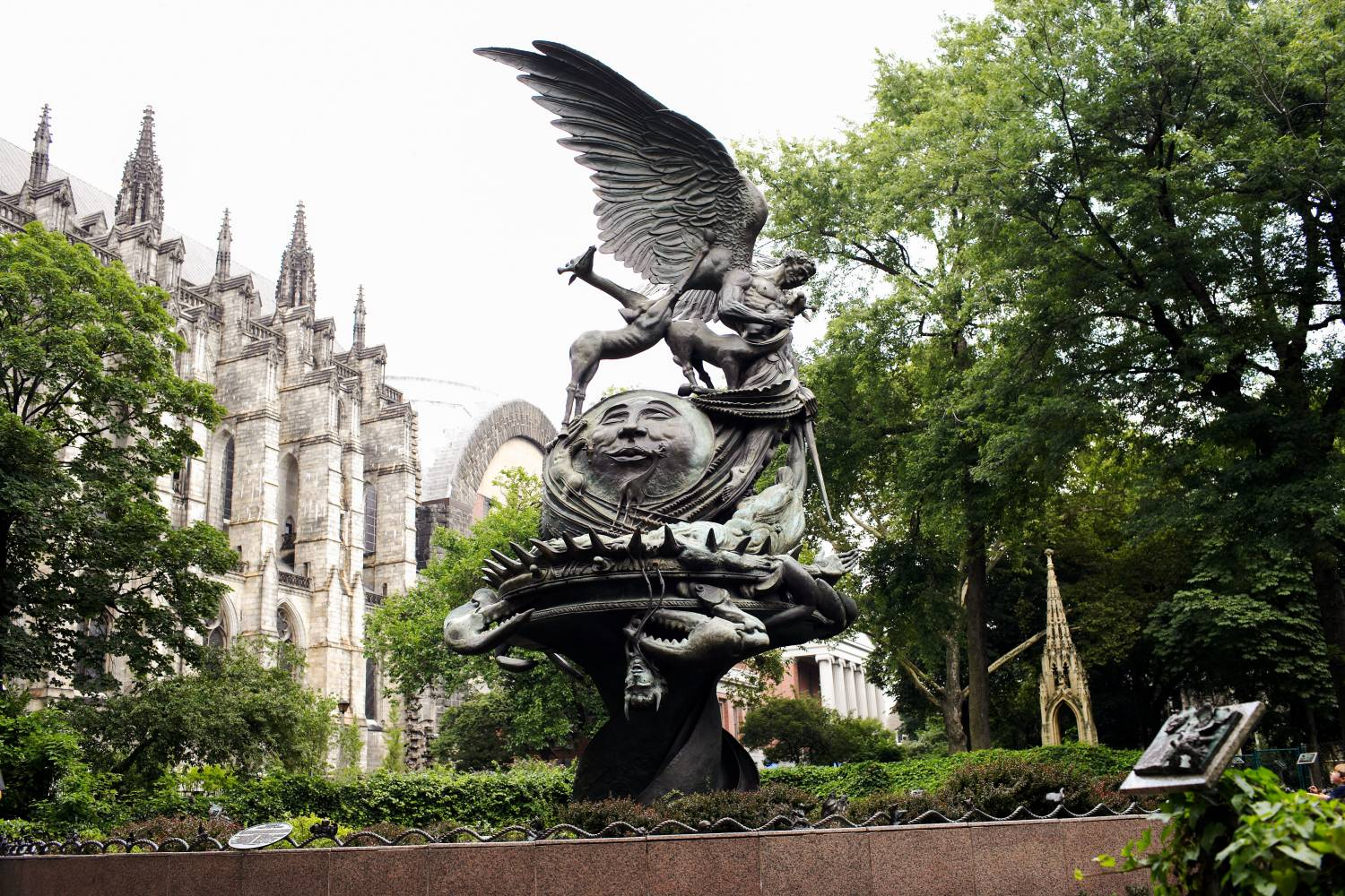 Fountain and exterior of Cathedral Church of St.John the Divine in Manhattan