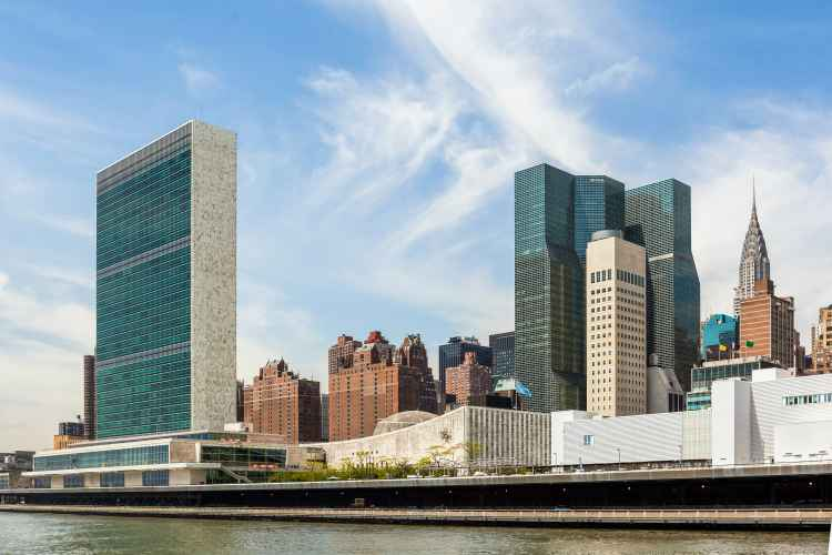 United Nations photographed from a boat in the East River