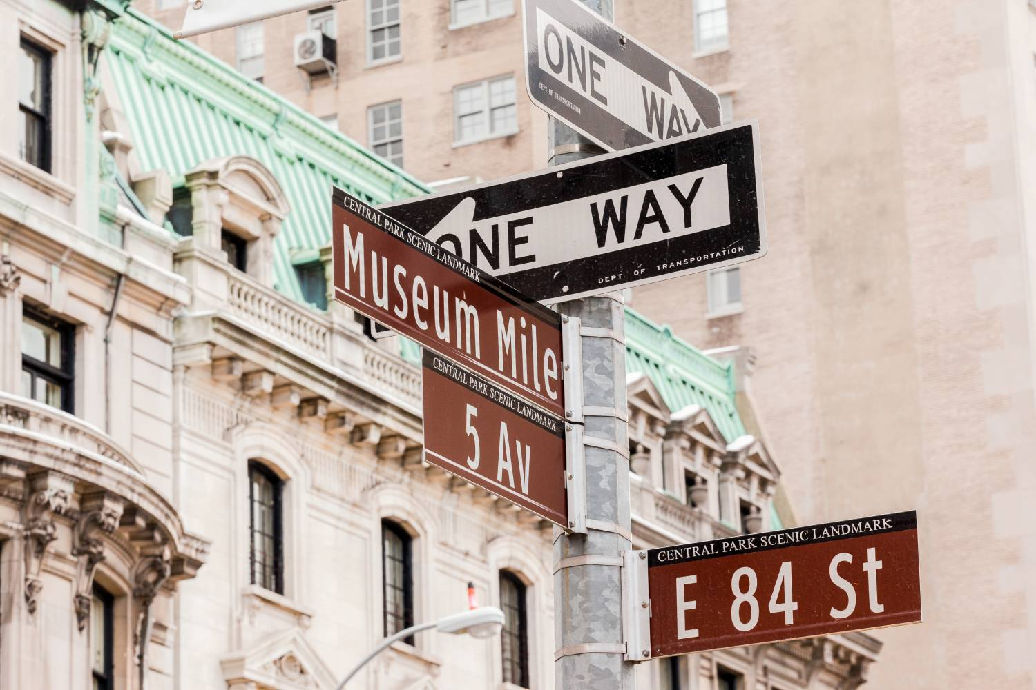 NYC street sign of the intersection of 5th Ave and 84th Street located in the Museum Mile