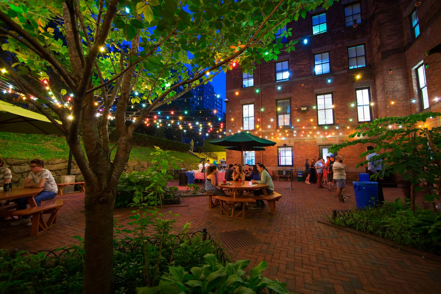 Outdoor patio where visitors hang out at Hostelling International New York