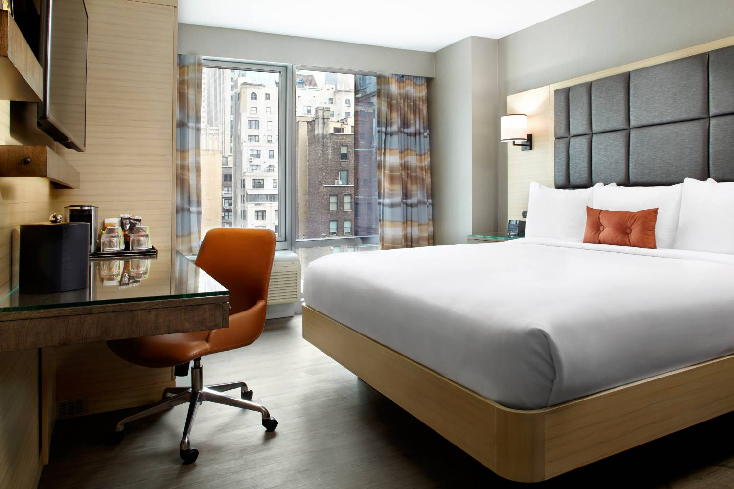 king guest room inside Cambria Hotel & Suites New York Times Square