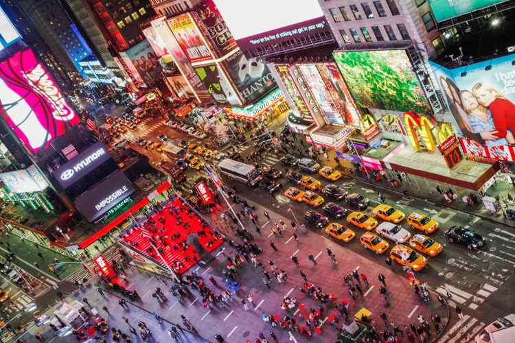 Times Square, nighttime overhead
