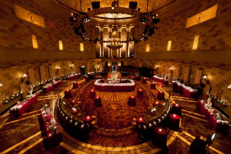 Interior of Gotham hall set up for a holiday party in Midtown Manhattan