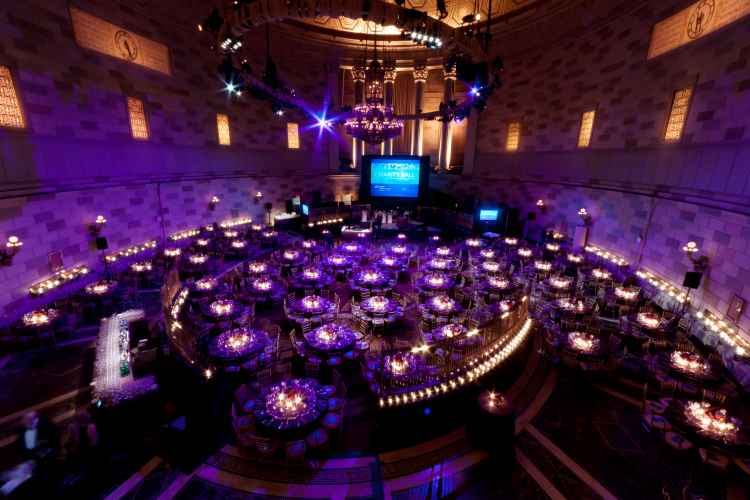 Interior of Gotham hall set up for an event in Midtown Manhattan