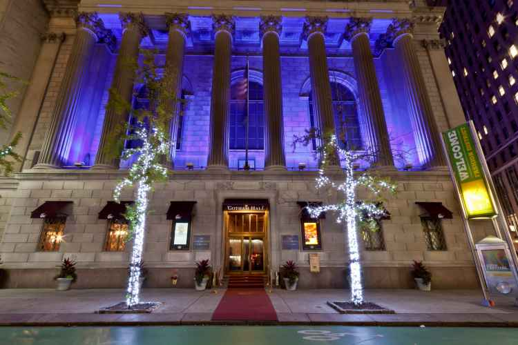 exterior of gotham hall at night in Midtown Manhattan