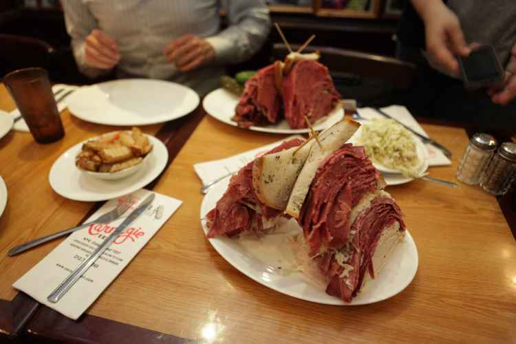 pastrami sandwiches from Carnegie Deli & Restaurant in Midtown