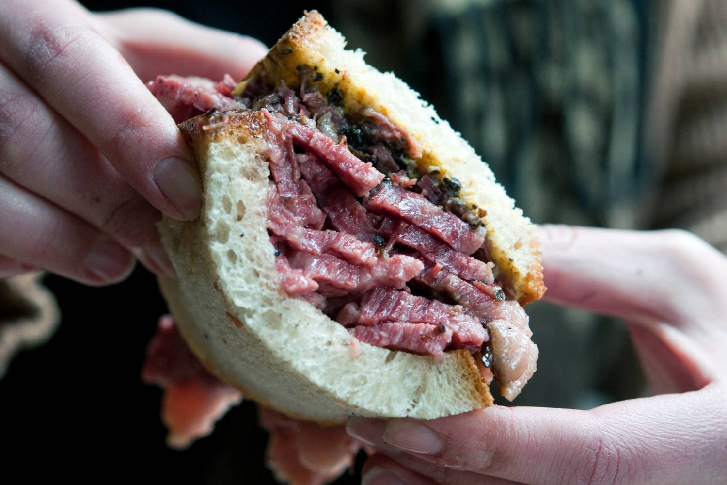 smoked meat sandwich from Mile End Delicatessen