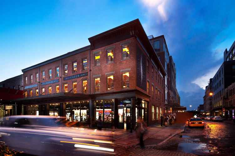 Exterior of Catch Restaurant in Meatpacking District at nigjt