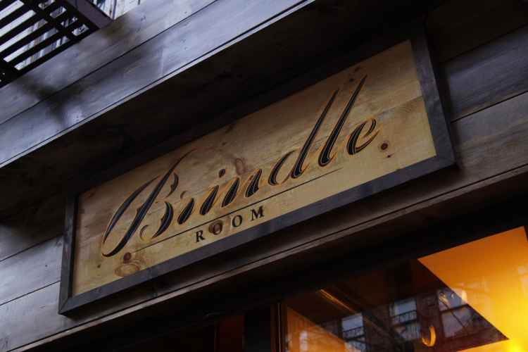The Brindle Room, sign