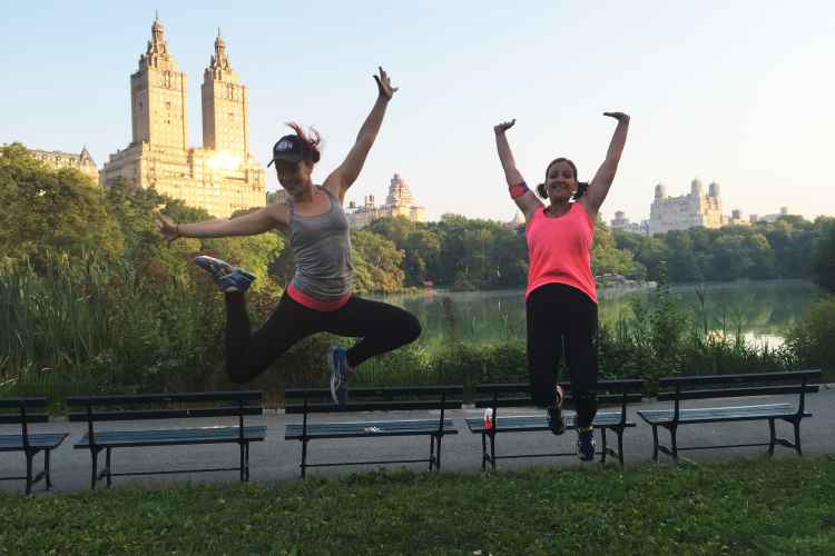 Participants celebrating a great workout in Central Park Manhattan