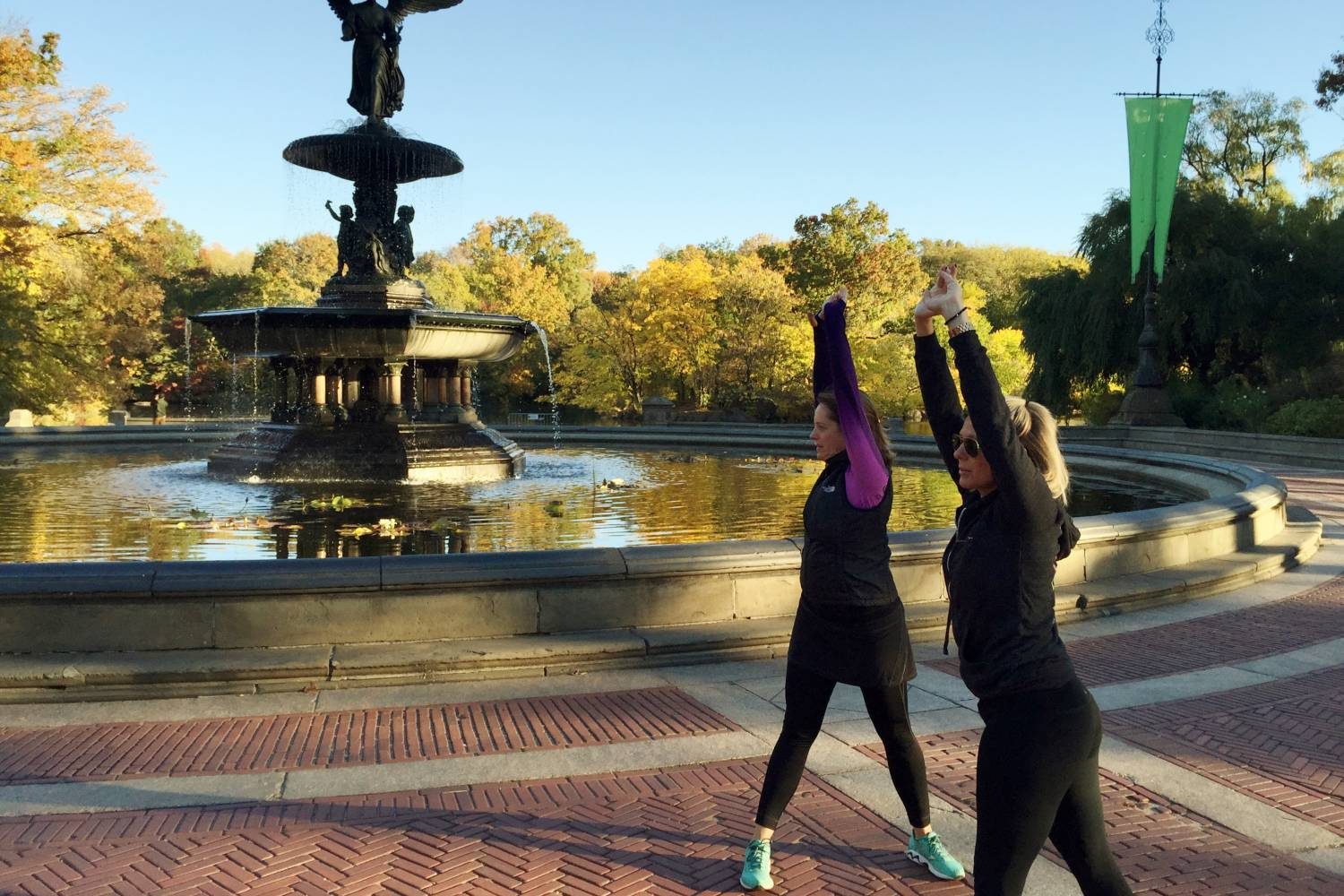 Participants stretching in Central Park Manhattan