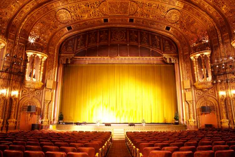 Empty stage and interior of United Palace Theatre