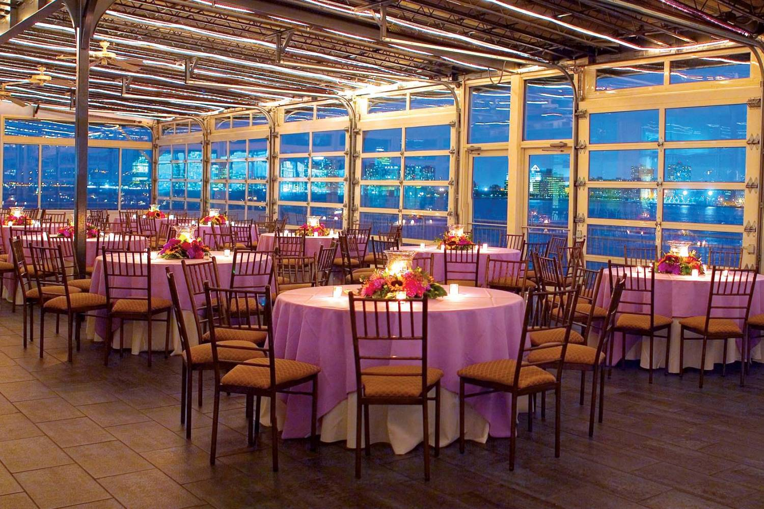 indoor terrace at Sunset Terrace at Chelsea Piers