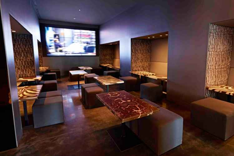 Lounge interior at Clyde Frazier's Wine and Dine in Manhattan