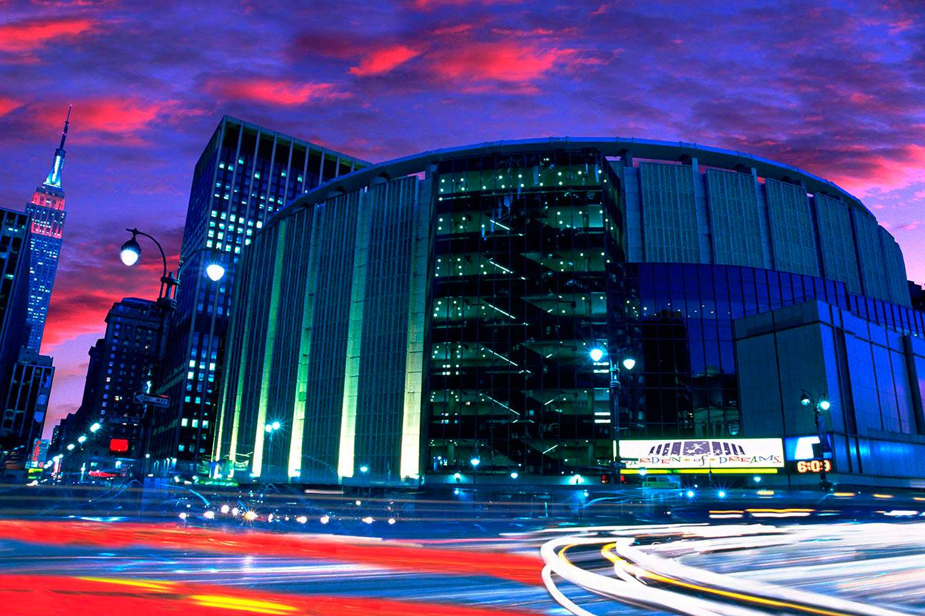 Exterior at night of Madison Square Garden